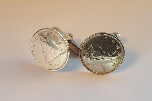 1944 Canadian Silver Dime cufflinks