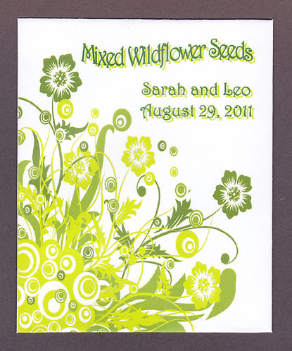 Green Floral Wildflower Seed Packet
