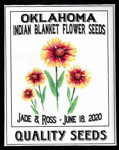 Oklahoma Indian Blanket Flower Personalized Seed Packet