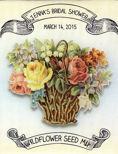 Flower Basket Bridal Shower Wildflower Seeds