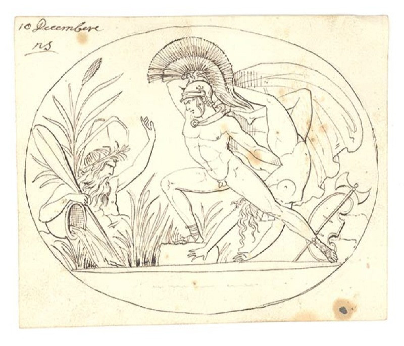 Draft drawing of a gemstone by Giovanni Calandrelli (1825). The image depicts Diomedes, one of the Greek heroes of the Trojan War, thrown the body of the dead amazon queen Penthesileia in to the Xanthos river (her personified by an old man with a beard and a pot of flowing water.