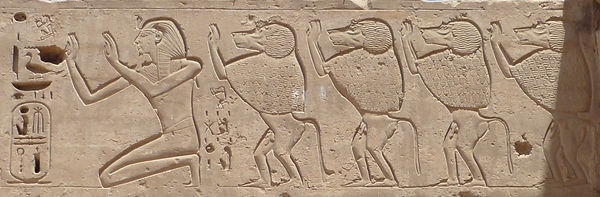 Relief Rameses III and baboons Medinet Habu