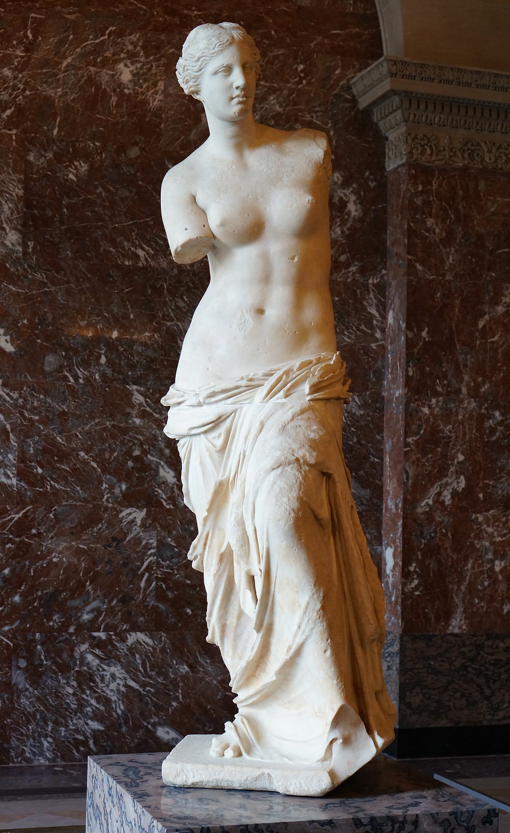 Famous marble statue of Aphrodite (Venus) from Melos and now in the Louvre