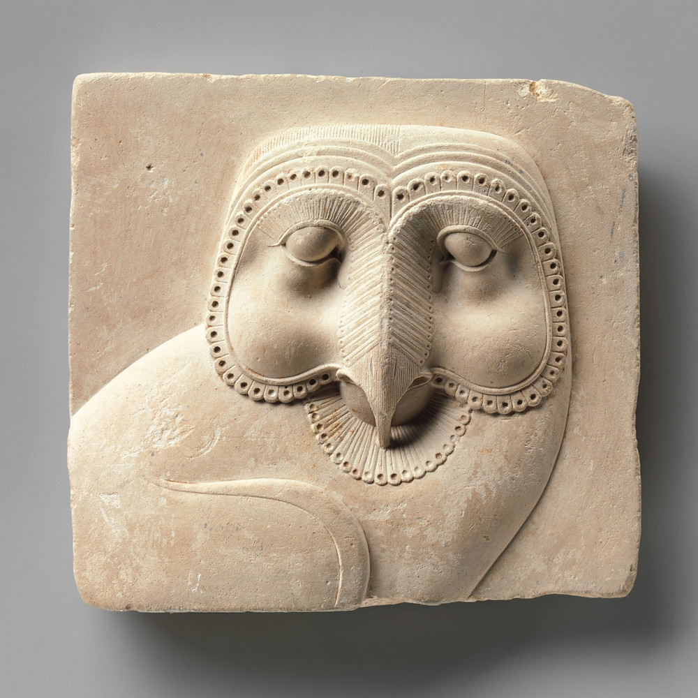 Relief of a barn owl on a limestone plaque from Egypt