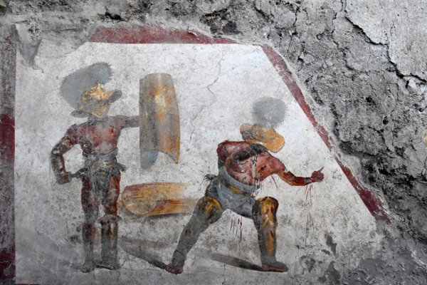 Straight out of Spartacus: a gladiator loses his arm in a newly discovered fresco from Pompeii