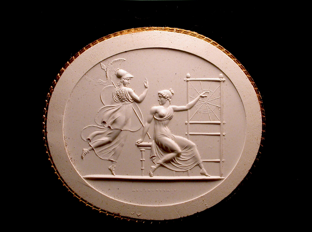 Plaster impression of a 19th century Carnelian gemstone: Arachne about to be subjected to the wrath of Athena for challenging the goddess's weaving ability.