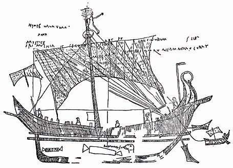 "Drawing of a wall graffiti of a cargo ship, ""Europa"", from a house in Pompeii"