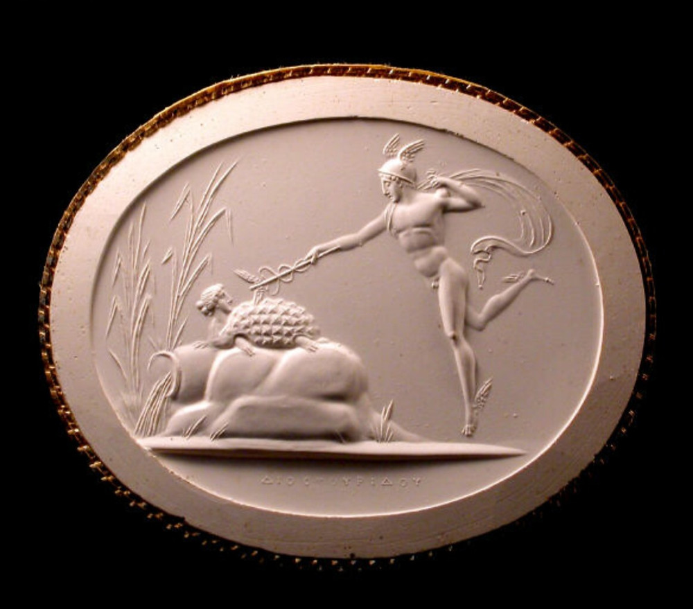 Plaster impression of a 19th century carnelian gemstone: Hermes transforming the nymph Chelone into a tortoise