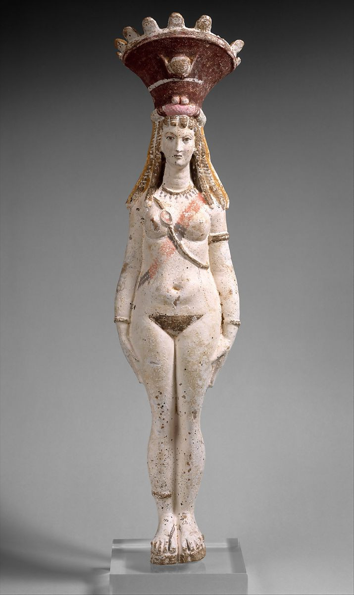 Terracotta figurine of Isis-Aphrodite from Egypt. In the Metropolitan Museum of Art.