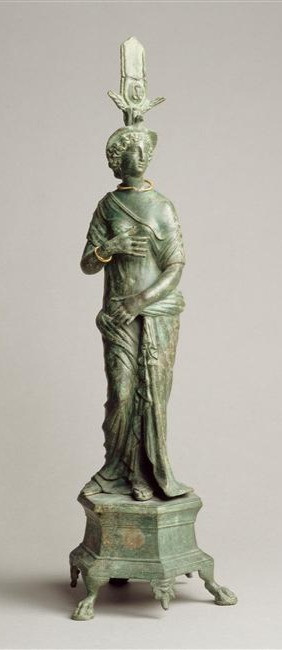 Small roman bronze statue of Isis-Aphrodite, from Amrit in Syria, now in the Louvre.
