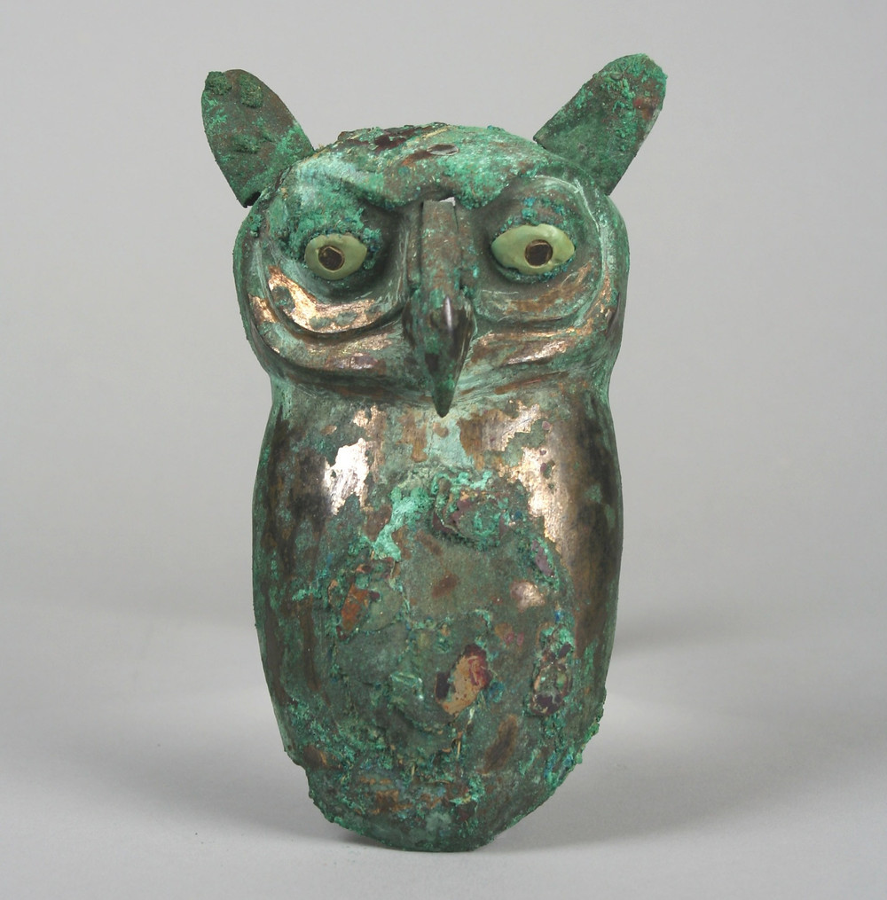 Silvered copper owl ornament from Loma Negra, Peru.