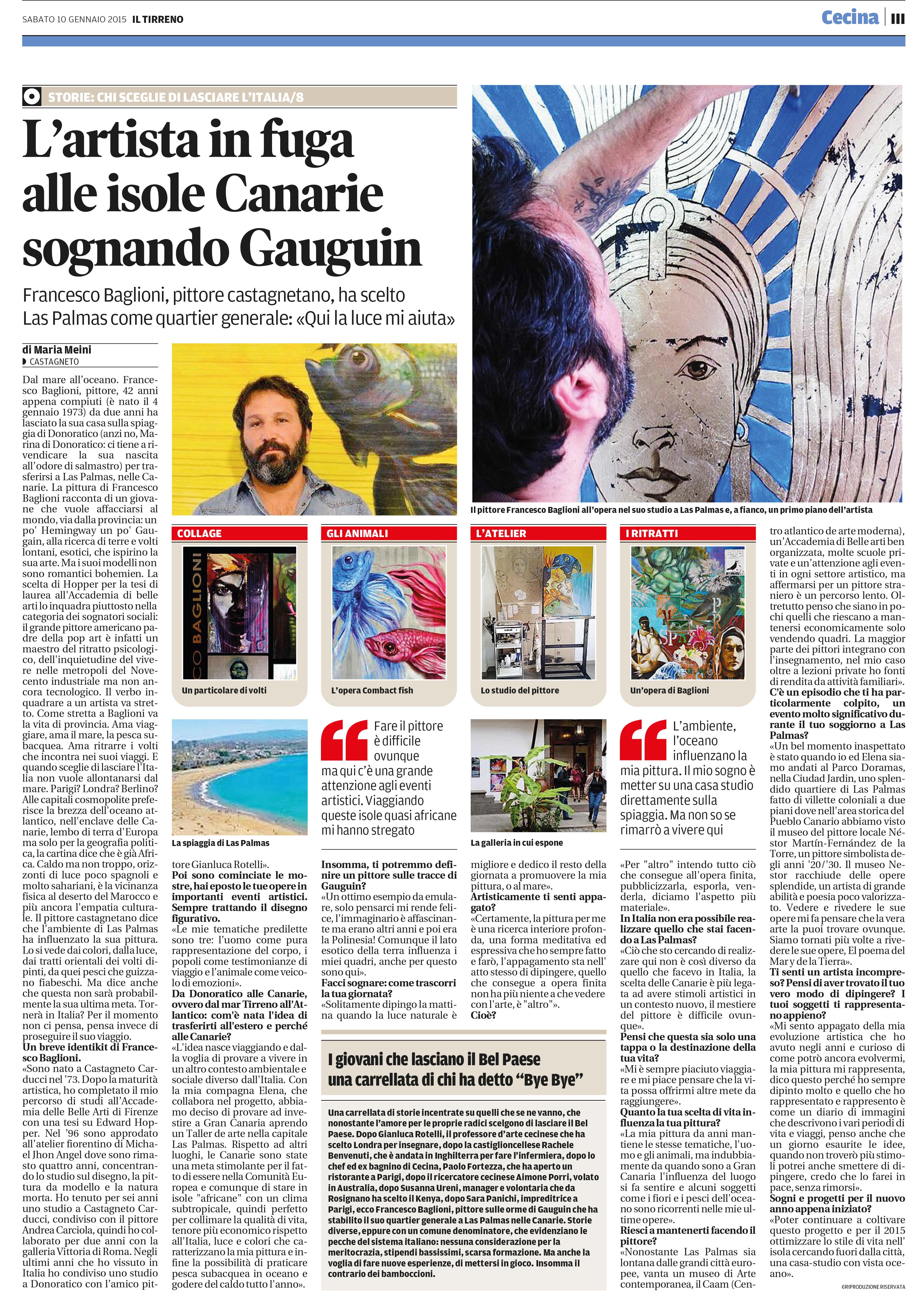 articolo IlTirreno 10/01/2015