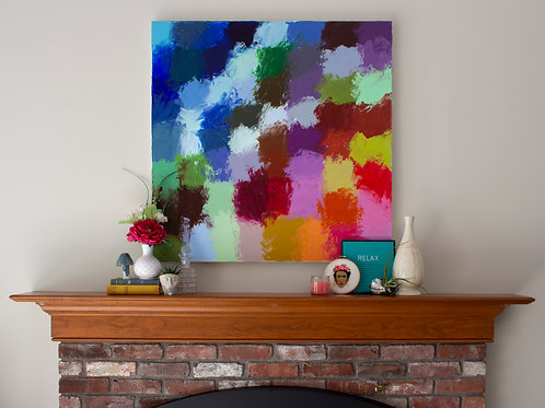 Large colorful abstract painting featuring a grid of both warm and cool-toned colors staged above a fireplace mantel