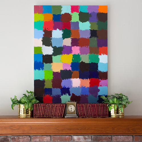 Large colorful abstract painting featuring a grid of randomly placed colors, staged above a fireplace mantel