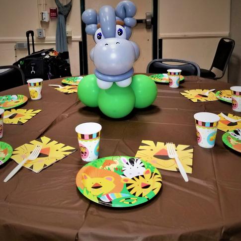 Baby Hippo Party Balloon Centerpiece