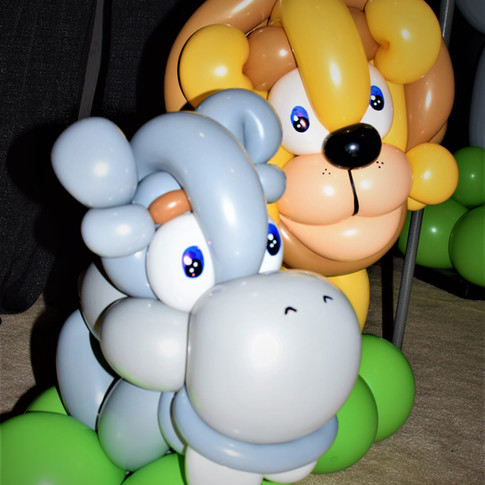 Baby Hippo and Lion Party Balloons