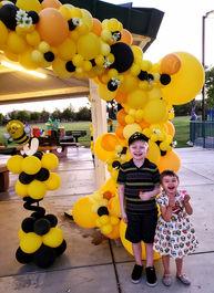 Bee Themed Birthday Balloon Decor