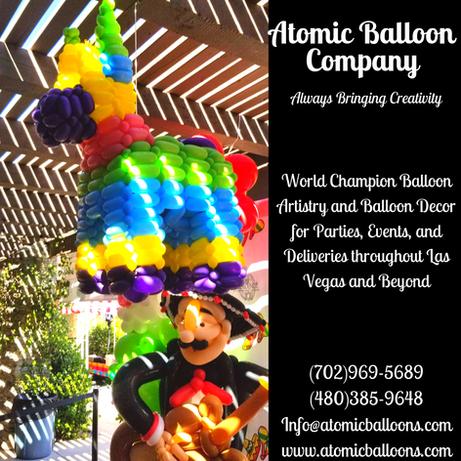 Pinata and Mariachi Balloon Sculptures