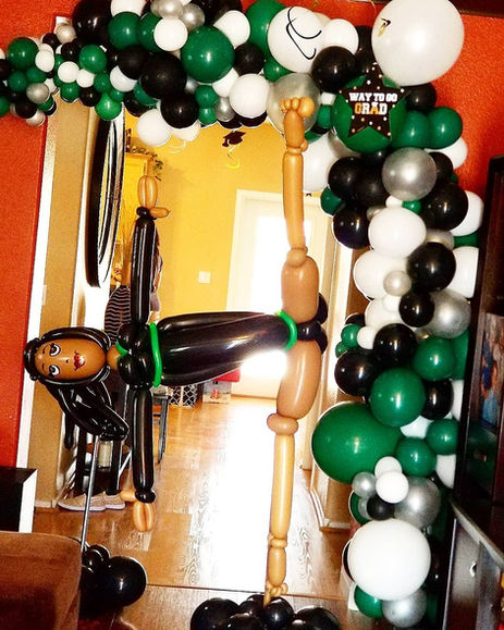 Large Gymnast Balloon Sculpture with Organic Arch