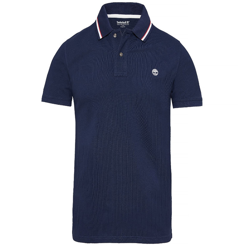 Polo Homme Timberland SS Millers River Pique Tipped Polo Slim - Bleur marine