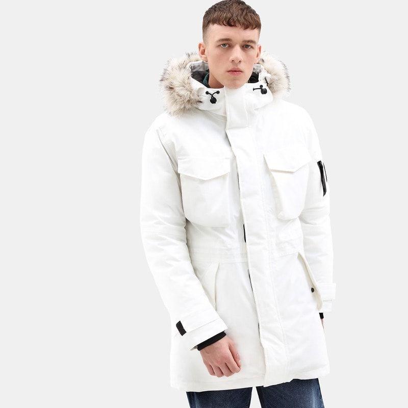 Manteau long d'hiver pour homme Timberland en teinte blanche