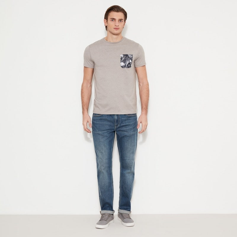 T-Shirt Homme Timberland SS Still River Coolmax Fabric Solid Pocket Crew Neck - Gris