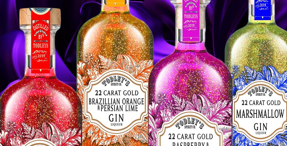 Brazilian Orange Gin Liqueur with 22 Carat Gold flakes.