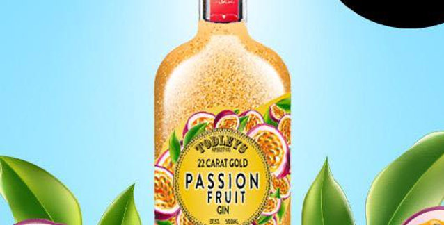 Passion Fruit Gin with 22 Carat Gold flakes