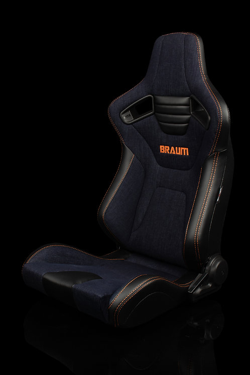 ELITE-X SERIES RACING SEATS (NAVY DENIM | ORANGE STITCHING) – PAIR