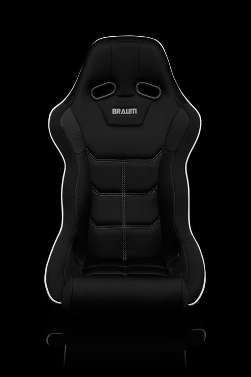 FALCON X SERIES FIA APPROVED FIXED BACK RACING SEAT (BLACK WITH WHITE PIPING)
