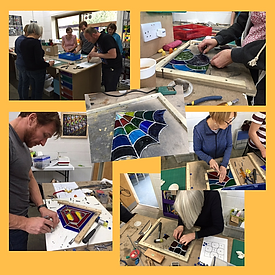Weekend students at work Stained Glass Courses, Workshops and Classes in London