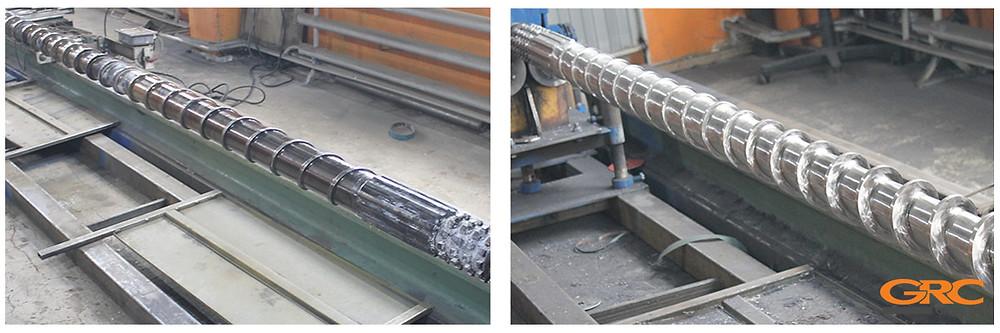 Шнек экструдера Ø-120 до и после восстановления