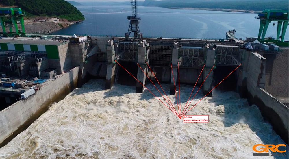 Расточка конической посадки в закладной ГЭС мобильным станком