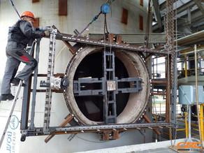 Мобильная фрезеровка плоскостей фланца от штуцера нефтехимического реактора