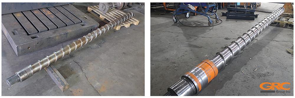 Шнек экструдера Ø-150 до и после восстановления