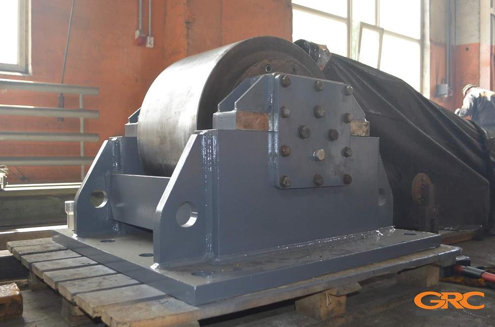 Роликовая опора роторно-наклонной печи после ремонта