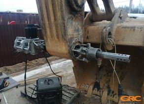 Восстановление крепления ковш-рукоять экскаватора Volvo EC 350DL портативным станком
