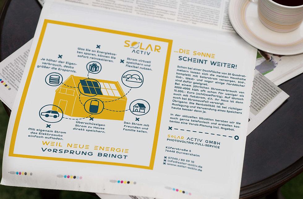 Solar Activ Werbeanzeige in Zeitung