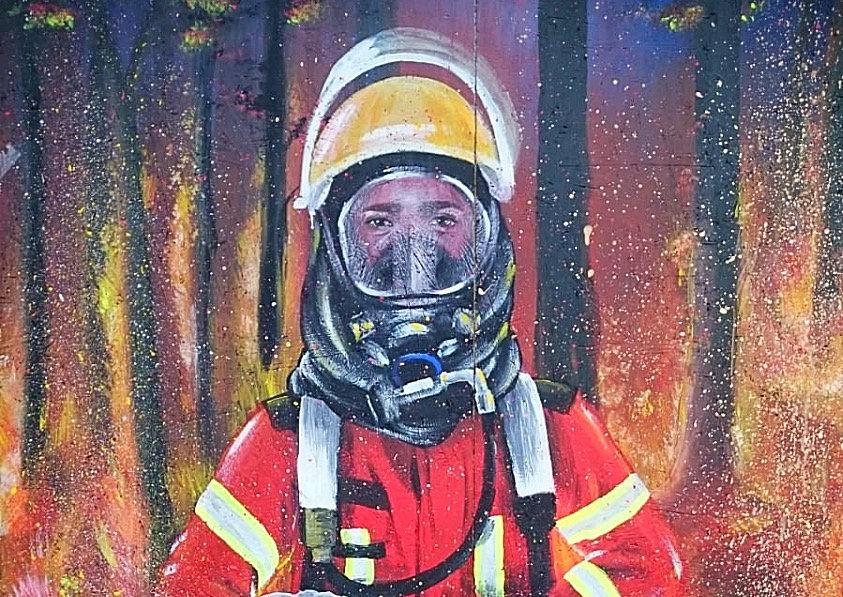 Feuerwehr Bruchhausen Ettlingen Social Design Acryl Malerei Illustration Feuerwehrmann