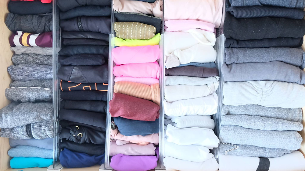 organized work out clothing drawer