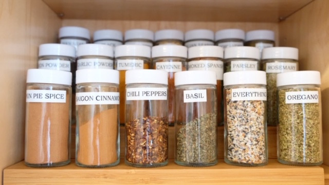 Organized and labeled spice jars