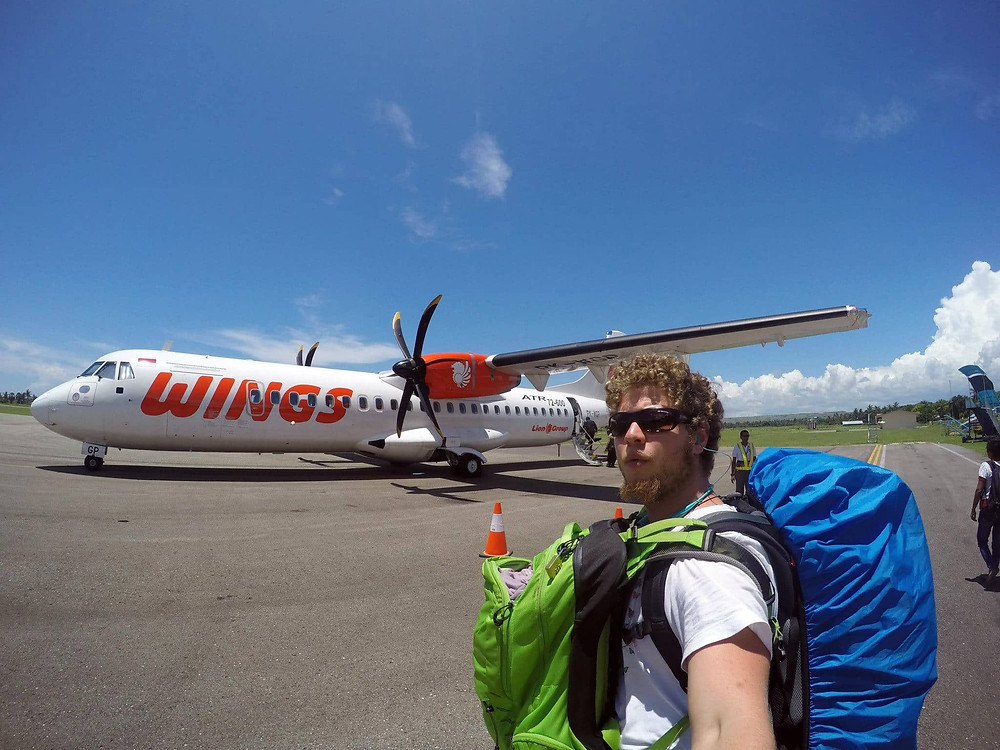 Ben Jacoby getting on a plane to Indonesia