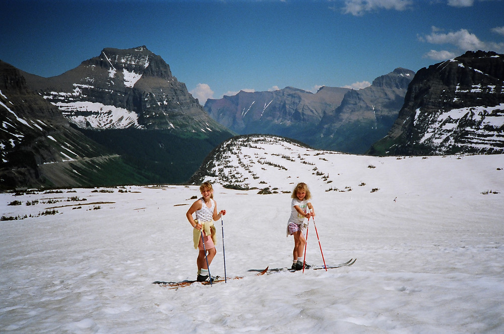 Alli and her sister cross country skiing at Logan Pass