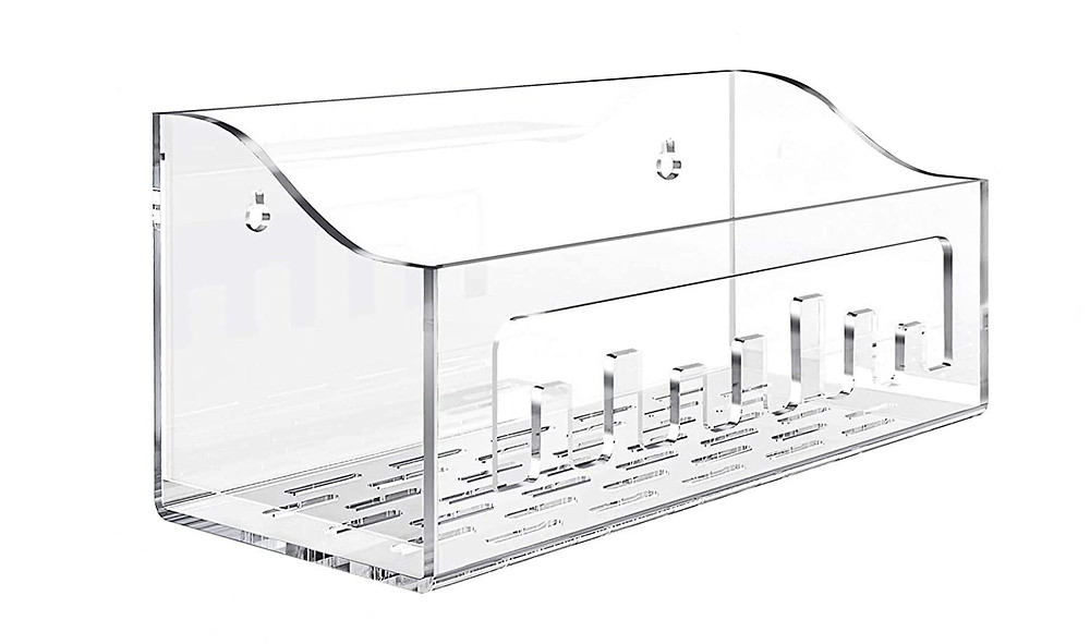 acrylic caddy with hooks system