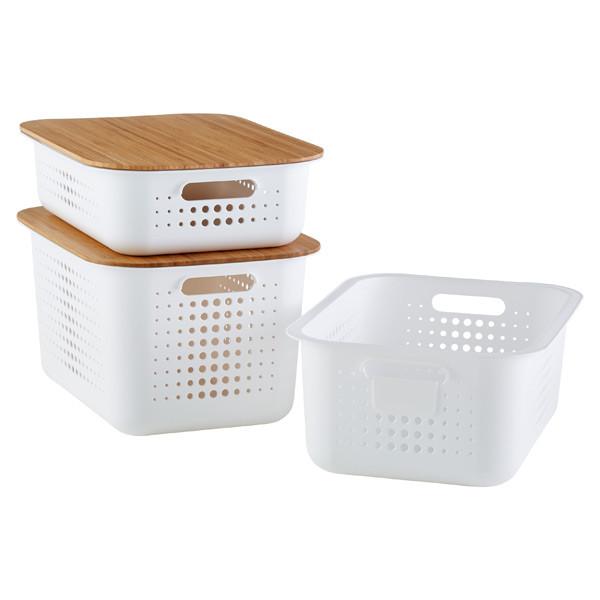 White storage bins