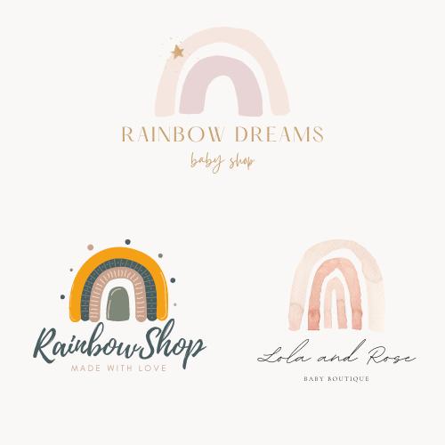 Trendy rainbow logos