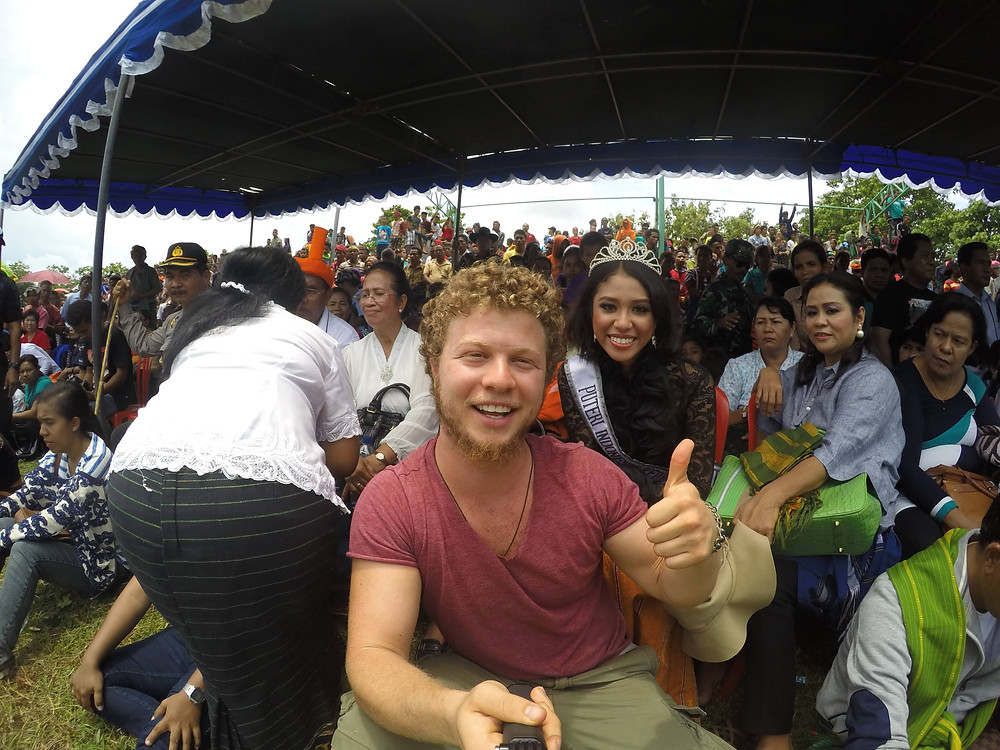 Ben with Miss Indonesia at the Pasola Festival