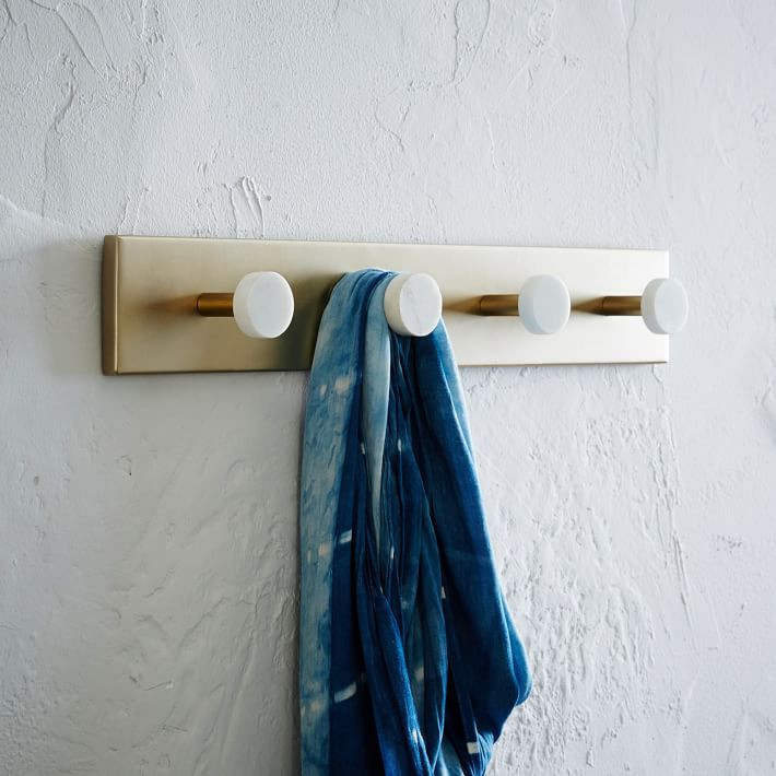 Wall-mounted four hook rack
