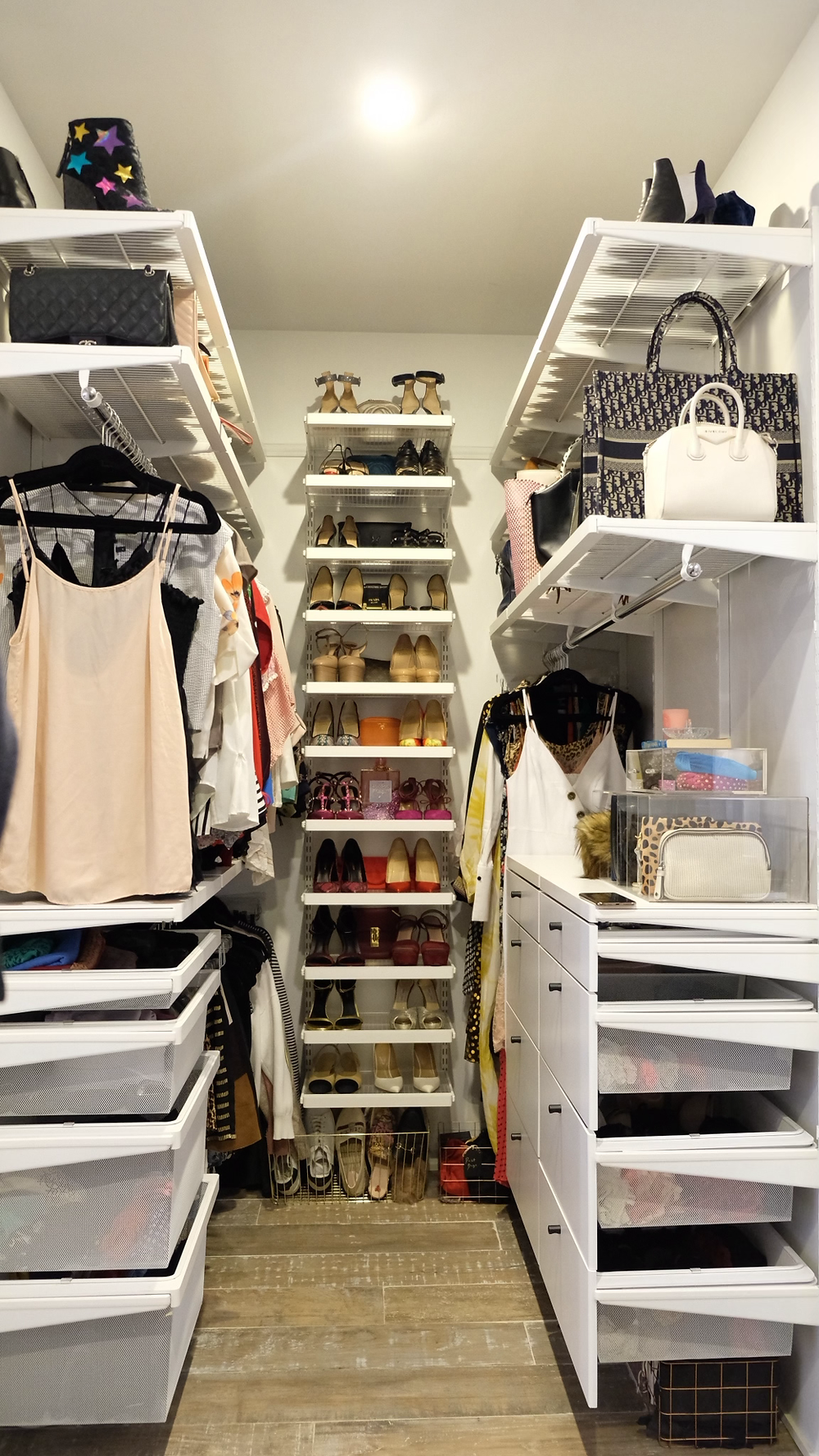 Vertical shelves allow for more storage in closets