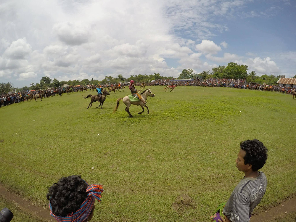 Jousters riding in the Pasola Festival